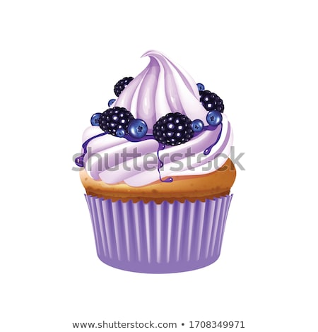 Vanilla cupcake with cream and blueberry isolated Stock photo © TasiPas