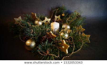 Stok fotoğraf: Christmas Decor Candles And Fir Tree