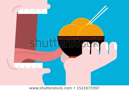 Mangiare ramen open bocca denti lingua Foto d'archivio © MaryValery