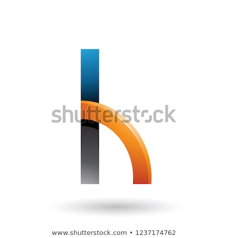 Black and Orange Letter H with a Glossy Quarter Circle Vector Il Stock photo © cidepix