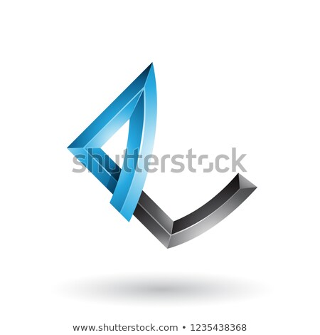Blue and Black Embossed Letter E with Bended Joints Vector Illus Stock photo © cidepix