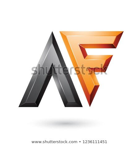 Orange and Black Glossy Dual Letters A Vector Illustration Stock photo © cidepix