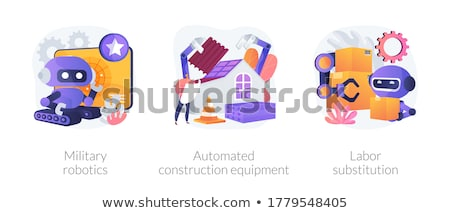 замена робота человека рабочих коробки Сток-фото © RAStudio