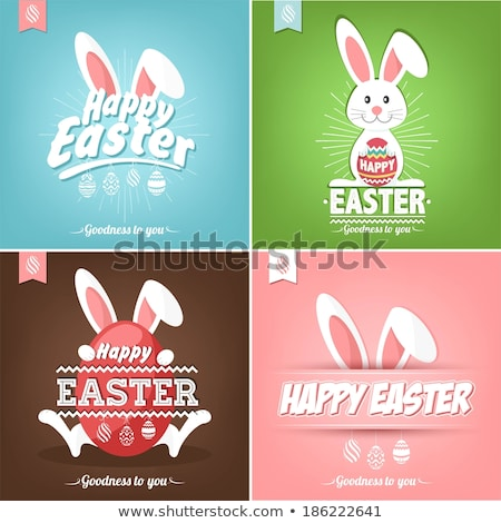 Happy Easter typographic lettering greeting card with Set of pas Stock photo © Margolana