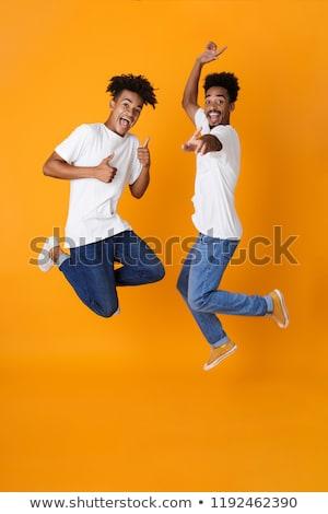 tam · uzunlukta · iki · mutlu · erkek · Afrika · arkadaşlar - stok fotoğraf © deandrobot
