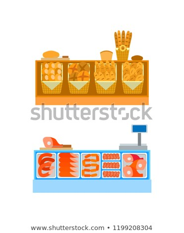 Butcher and Bakery Departments Empty Desks Vector Stock photo © robuart
