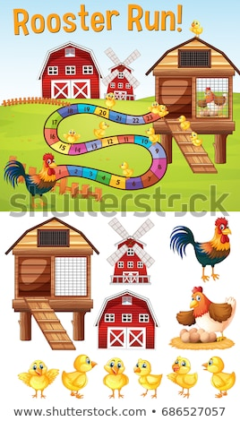 Boardgame template with chickens on farmyard Stock photo © colematt
