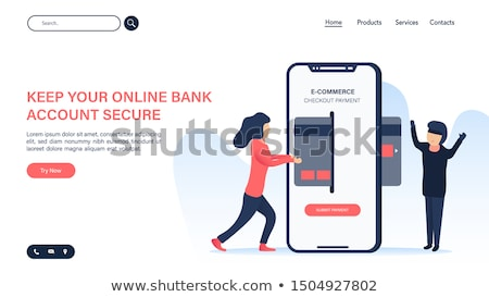 flat isometric vector landing page template of secure online payment receipt stock photo © tarikvision