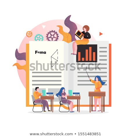 huge book teacher pointing and student vector illustration stock photo © rastudio