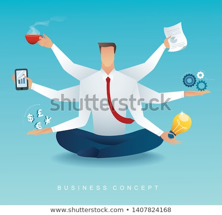 man busy with work businessman characters at work stock photo © robuart