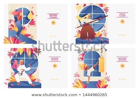 Banner sjabloon meisje karate illustratie kind Stockfoto © colematt