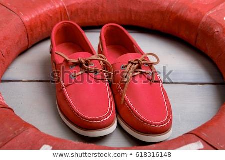 Rood boot schoenen houten top Stockfoto © Illia