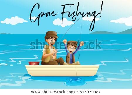 apa · fia · halászat · idős · apa · felnőtt · fiú - stock fotó © colematt