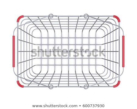 Stok fotoğraf: Steel Shopping Basket Sale Sign 3d