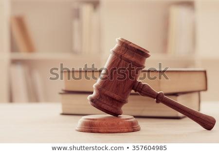 közelkép · bíró · bankjegy · asztal · kezek · kalapács - stock fotó © snowing