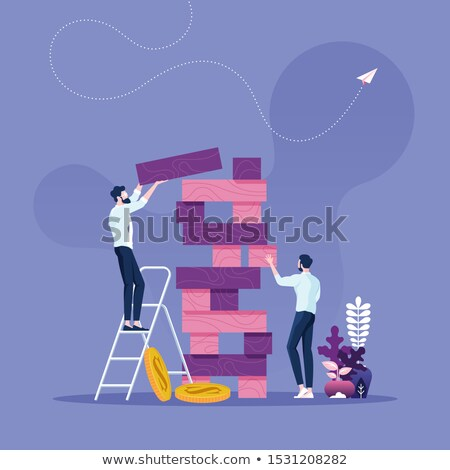 Competition concept with two businessmen climbing tower Photo stock © Elnur