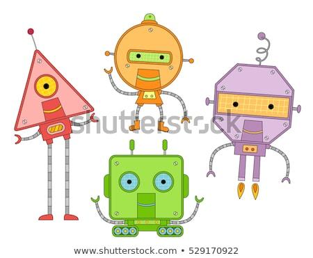 basic colors with cartoon robots for coloring stock photo © izakowski