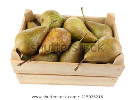 peras · madeira · luz · fruto · verde · prato - foto stock © karandaev