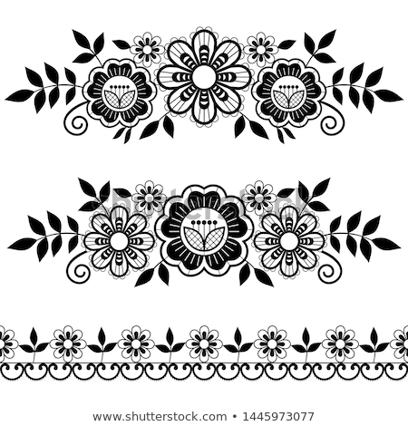 Lace single patterns collection, ornamental pattern with roses, flowers and swirls, detailed lace mo Stock photo © RedKoala