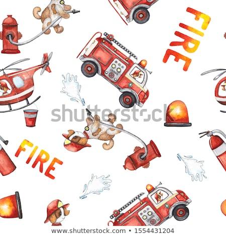 Stockfoto: Naadloos · brandweerlieden · illustratie · brandweerlieden · man