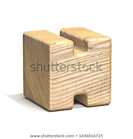 Solid wooden cube font Letter H 3D Stock photo © djmilic