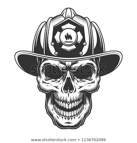 Szkic strażak czaszki kask gaśnica Zdjęcia stock © netkov1
