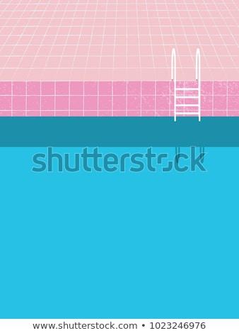 Yaz yüzme havuzu posterler ayarlamak vektör adam Stok fotoğraf © robuart