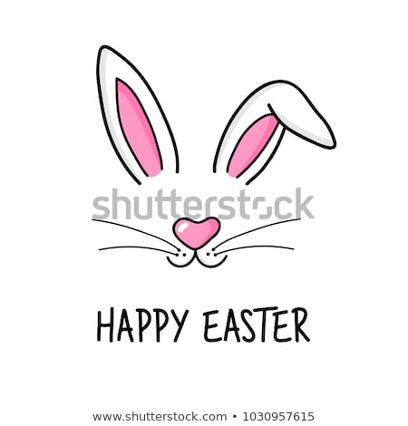 happy easter greeting card poster with cute sweet bunny and flowers stock photo © marish