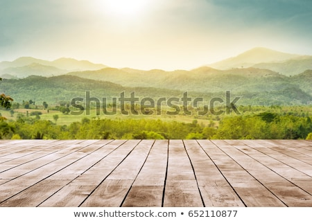 Wooden Desk On Top Of The  Mountain Stock photo © AndreyPopov
