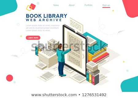 Público biblioteca aterrissagem página leitura livros Foto stock © RAStudio