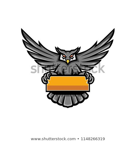 Great Horned Owl Spreading Wings Banner Mascot Stock photo © patrimonio