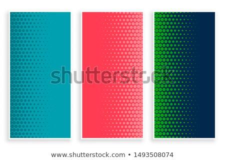 ストックフォト: スタイリッシュ · セット · ハーフトーン · バナー · 3 · 色