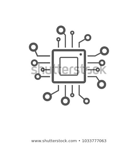 Microprocessor icon vector geïsoleerd witte Stockfoto © smoki