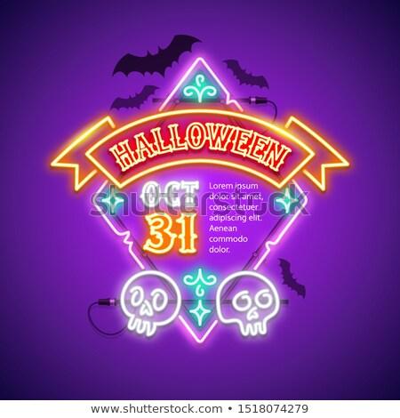 Halloween fita fantasma crânios cartão Foto stock © Voysla