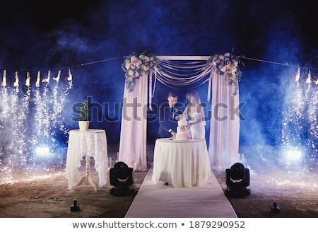 happy bride and groom cut the cake evening ceremony stock photo © ruslanshramko