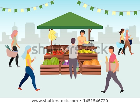 Trade Tent with Vegetables Customer and Vendor Vector Stock photo © robuart