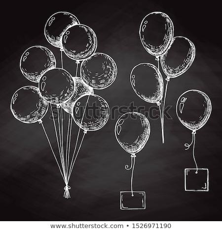 Csoport léggömbök fonal kézzel rajzolt kréta tábla Stock fotó © Arkadivna
