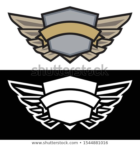 Winged shield logo with banner, sharp simple design with cool modern colors plus white on black, iso Stock photo © jeff_hobrath