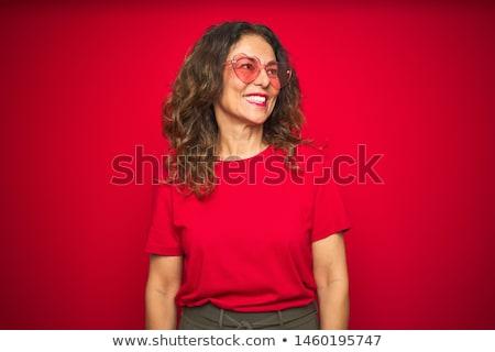 Mosolyog idős nő napszemüveg valentin nap nyár Stock fotó © dolgachov