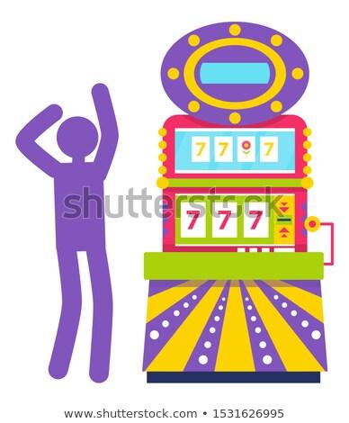 Purple Silhouette of Man, Slot Machine Vector Stock photo © robuart