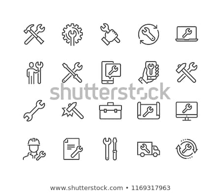 Reparatie icon vector lang schaduw web Stockfoto © smoki