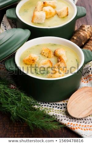 Romig Jeruzalem soep houten kleur eten Stockfoto © joannawnuk