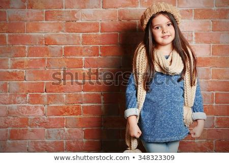 Portrait of a preschool girl in autumn in warm clothes and a scarf Stock photo © ElenaBatkova