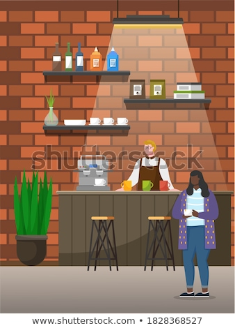 Waiter Holding Cup of Coffee in Coffeehouse Vector Stock photo © robuart