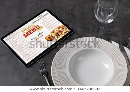 çevrimiçi pizza menü sofra takımı durdurmak sipariş Stok fotoğraf © ra2studio