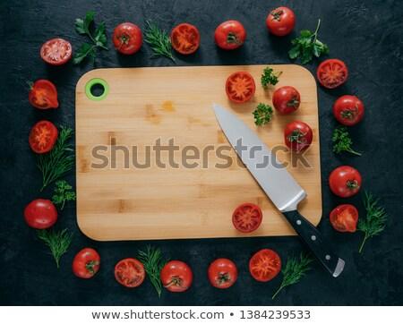 Yatay üst görmek kırmızı domates etrafında Stok fotoğraf © vkstudio