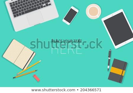 Mesa de escritório tabela laptop câmera café Foto stock © karandaev