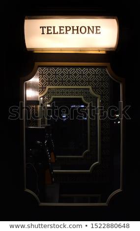 Art deco telefone vintage mármore latão prateleira Foto stock © albund
