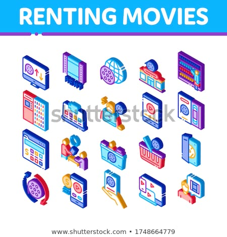 Renting Movies Service Isometric Icons Set Vector Stock photo © pikepicture
