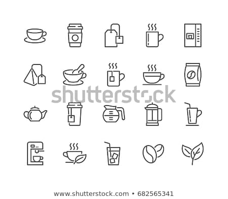 teapot with tea leaves icon vector outline illustration Stock photo © pikepicture